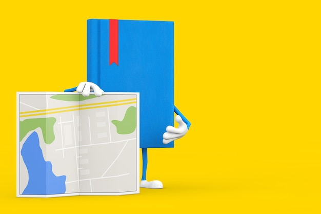 Blaues buch-charakter-maskottchen mit abstrakter plan-karte auf einem gelben hintergrund. 3d-rendering