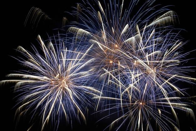 Blaues buntes feiertagsfeuerwerk auf dem schwarzen himmel