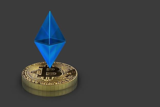 Blaues etheliumzeichen, das auf einem gold cryptocurrency bitcoin floting ist
