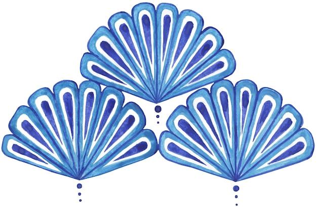 Blaues fächerförmiges orientalisches muster japanische motivemuschelmusterlinien tropfen punkte auf einem transparenten