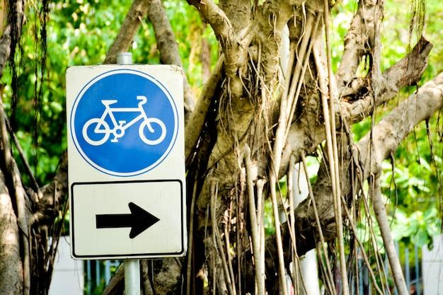 Blaues fahrradzeichen mit pfeilzeichenpfosten im park