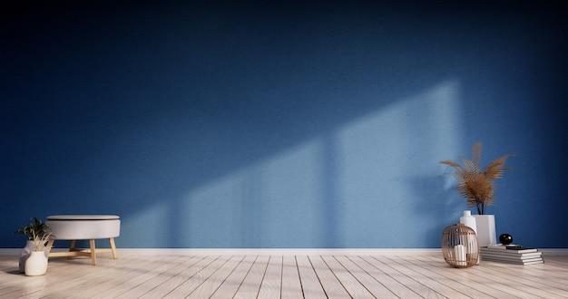 Blaues farbraumdesign mit türpapier und schrankregalwand auf tatami-mattenbodenraum im japanischen stil. 3d-rendering