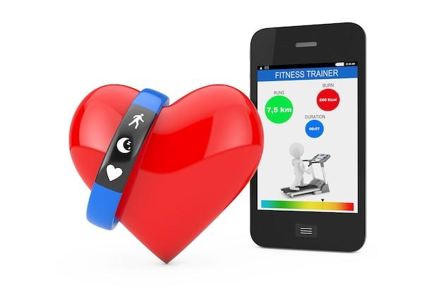 Blaues fitness-tracker-armband mit rotem herz und handy mit fitness-anwendung auf weißem hintergrund 3d-rendering