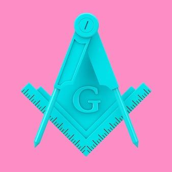 Blaues freimaurer-freimaurer-quadrat und kompass mit g-brief-emblem-symbol-logo-symbol als duotone-stil auf rosa hintergrund. 3d-rendering