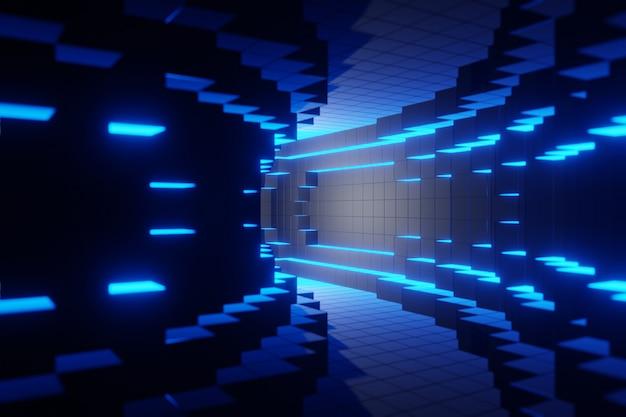 Blaues futuristisches digitales technologisches tunnelhintergrundanimations-3d-rendering