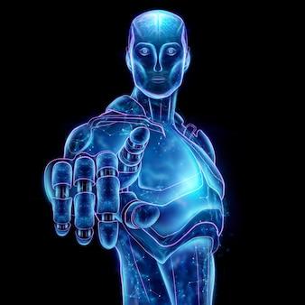 Blaues hologramm eines roboters, künstliche intelligenz. konzept neuronale netze, autopilot, robotisierung, industrielle revolution 4.0. 3d abbildung, wiedergabe 3d.