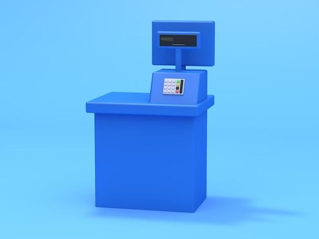 Blaues kassierergeschäftskonzept 3d übertragen