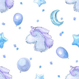 Blaues kindernahtloses muster mit hellen glänzenden ballonen, sternen und einhorn