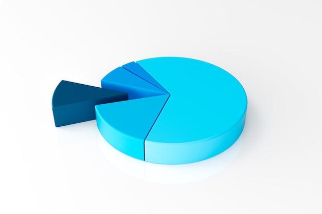 Blaues kreisdiagramm mit unterteilungen