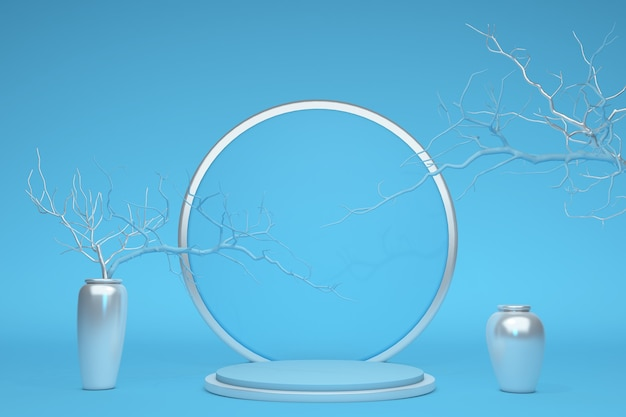 Blaues leeres podium des minimalen konzeptes des abstrakten 3d-stils mit zweigen und silbernen vasen gegen pastellhintergrund für verkaufsförderung der kosmetischen produktpräsentation