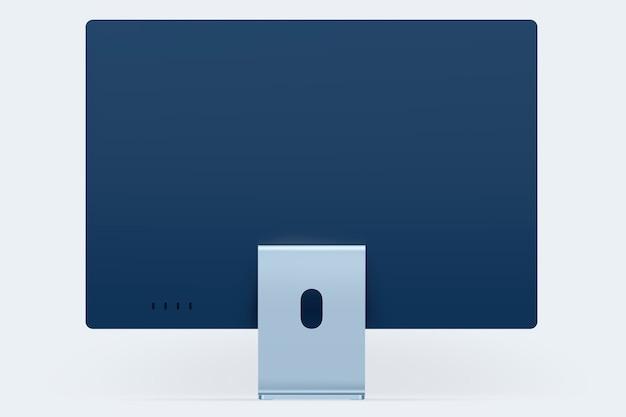 Blaues, minimales computer-desktop-digitalgerät mit designraum