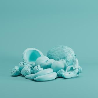 Blaues mixfruit monoton auf blauem pastellhintergrund. minimales fruchtideenkonzept.