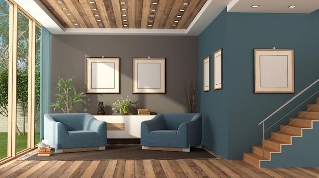 Blaues modernes wohnzimmer mit treppe