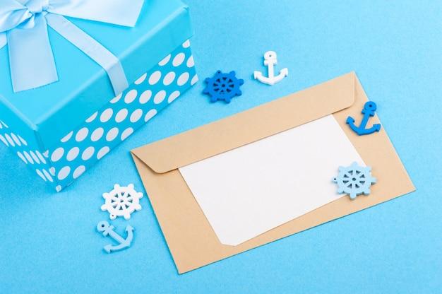 Blaues nautisches dekor, geschenkbox