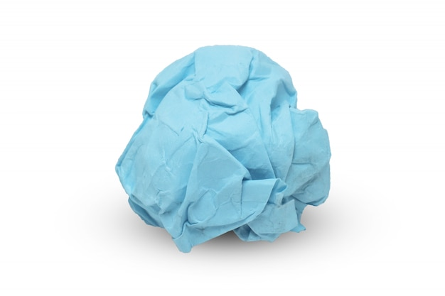 Blaues papier zerknittert