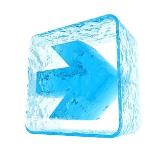 Blaues pfeilsymbol mit einer vereisten textur
