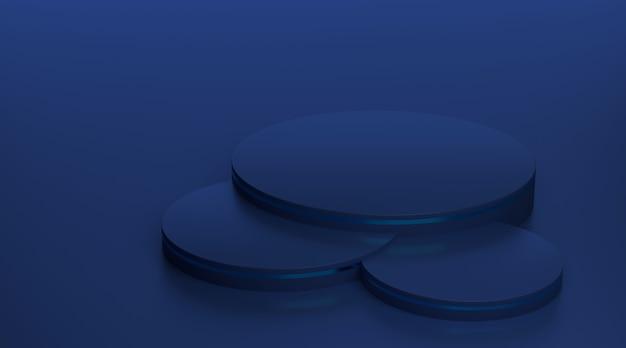 Blaues podestpodest des 3d-renderings für luxusprodukte.