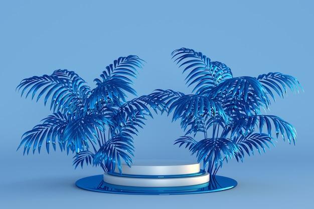 Blaues podium 3d mit abstrakten palmen weihnachtsschablone mit kopienraumtext