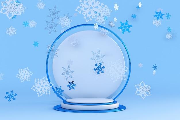 Blaues podium des neuen jahres 3d mit schneeflocken für grußkartenplakatfahne festliches winterstudio