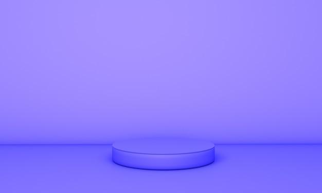 Blaues podium im blauen hintergrund. 3d illustration.