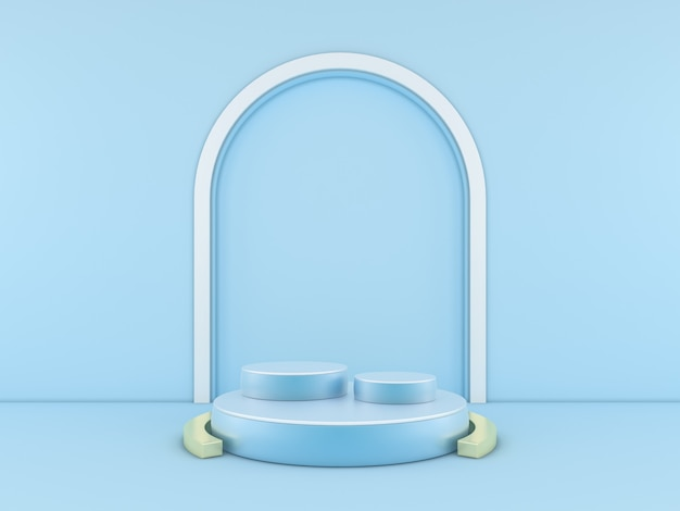Blaues podium minimal auf blauem farbhintergrund für produkt. 3d-rendering
