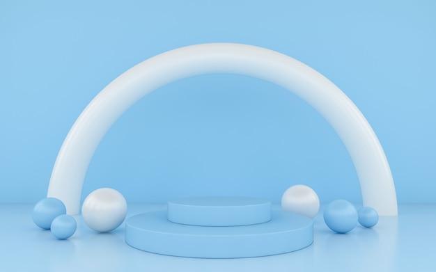 Blaues podium minimal auf blauem farbhintergrund für produkt.