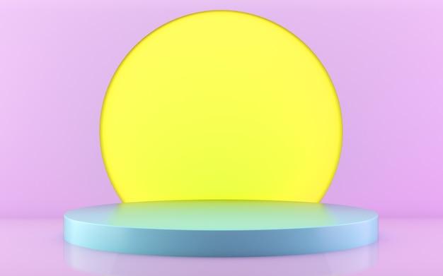 Blaues podium mit rosa und gelb