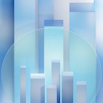 Blaues podium oder podest für produkte oder werbevitrinen in der nähe von milchglas. 3d abstraktes rendering.