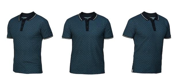 Blaues poloshirt mit quadratischem ornament. t-shirt vorderansicht drei positionen auf weißem hintergrund