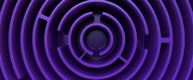 Blaues rundes labyrinth. draufsicht. gestaltungselement. vollbild