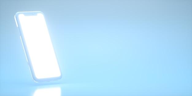 Blaues smartphone mit hellem bildschirm