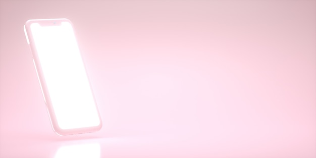 Blaues smartphone-modell 3d-rendering mit kopierraum