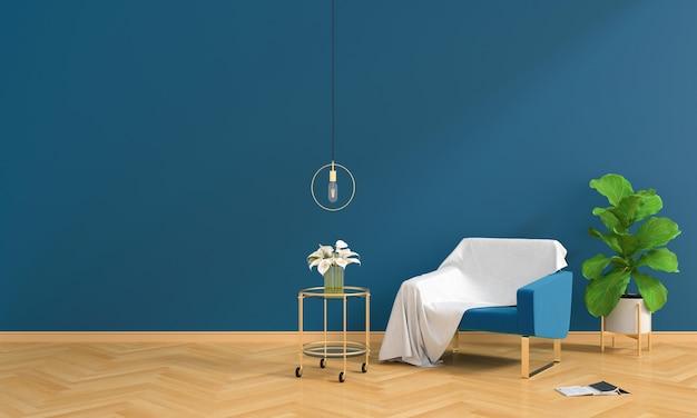 Blaues sofa im wohnzimmer