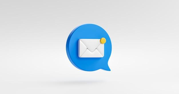 Blaues symbol der benachrichtigungsnachricht oder neues kontaktalarm-chat und flaches webdesign einzeln auf weißem hintergrund mit e-mail-erinnerungshinweis für soziale kommunikation. 3d-rendering.