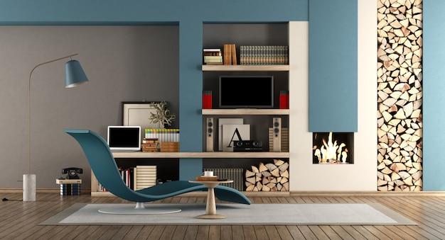 Blaues und braunes wohnzimmer mit kamin