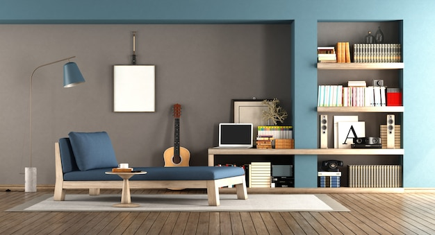 Blaues und braunes wohnzimmer