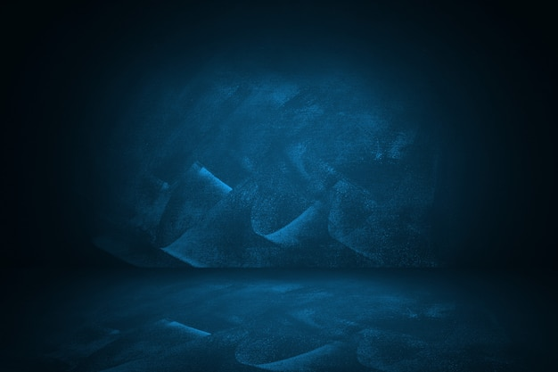 Blaues und dunkles steigungsstudio und innenhintergrund, zum des produktes vorzulegen