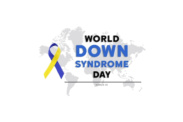Blaues und gelbes band für den world down syndrome day