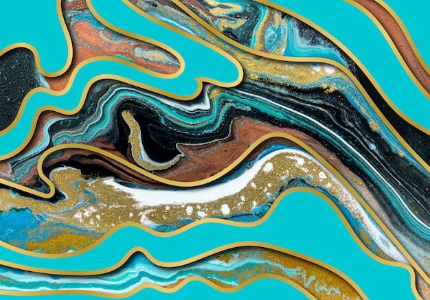 Blaues und goldenes achat-wellenmuster. marmorhintergrund mit wellenschichten.