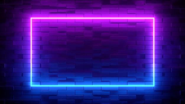 Blaues und lila neonquadrat auf schwarzem backsteinmauerhintergrund