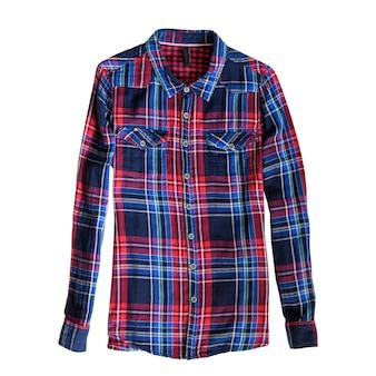Blaues und rotes kariertes hemd. weißer hintergrund. isolieren