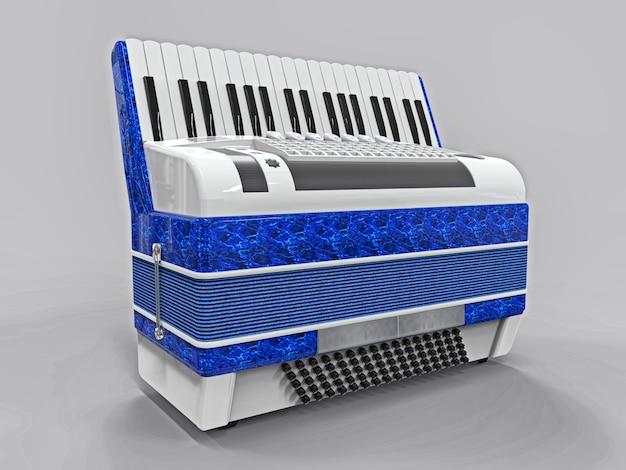 Blaues und weißes akkordeon auf grauer getrennter oberfläche