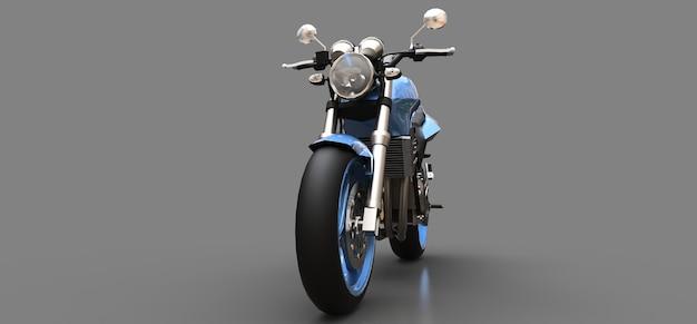 Blaues urbanes sport-zweisitzer-motorrad auf grauem hintergrund. 3d-darstellung.