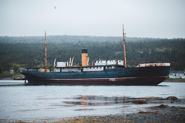 Blaues versandboot am nebligen tag