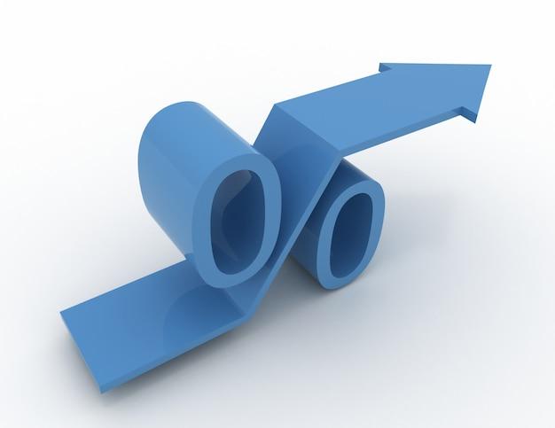 Blaues wachsendes prozentzeichen mit steigendem pfeil. 3d-render-illustration