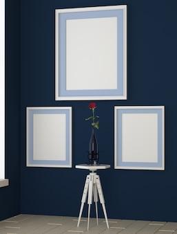 Blaues zimmer mit gemälden an den wänden. rose in einer vase auf dem tisch.