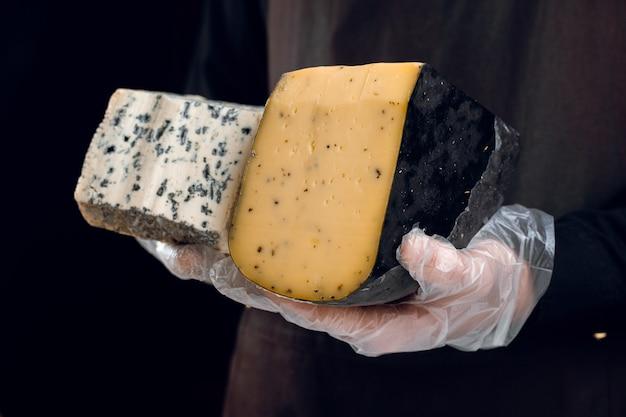 Blauschimmelkäse und gouda mit italienischen kräutern in den händen. halten dorblu, gorgonzola, roquefort. französische gourmetküche.