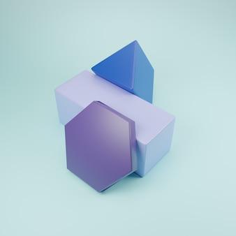 Blauton geometrische blöcke 3d-set mit blauem hintergrund