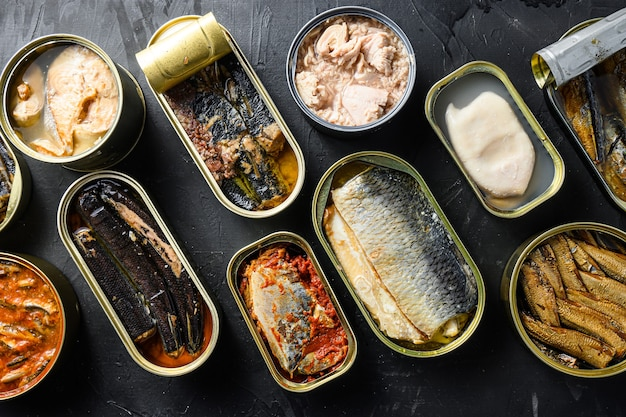 Blechdose mit saury, makrele, sprotten, sardinen, pilchard, tintenfisch, thunfisch