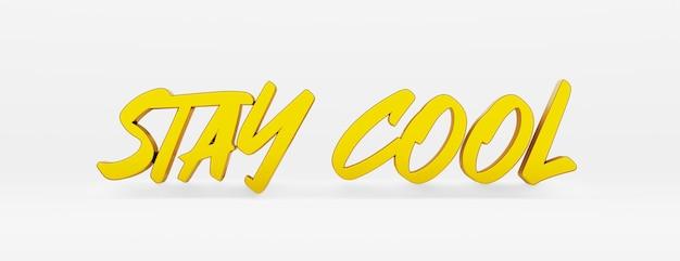 Bleib ruhig. ein kalligraphischer satz und ein motivierender slogan. gold-3d-logo im stil der handkalligraphie auf weißem, einheitlichem hintergrund mit schatten. 3d-darstellung.